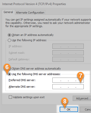 How to change DNS server settings in Windows8