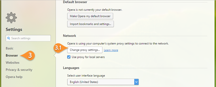How to setup proxy on Opera Browser