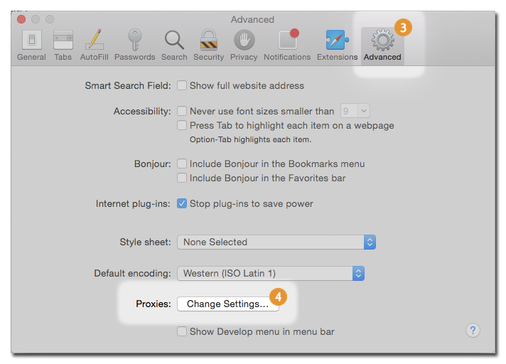 proxy on Safari MacOS X