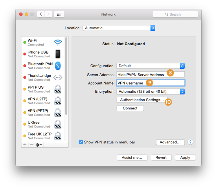 setup PPTP on Mac OS X