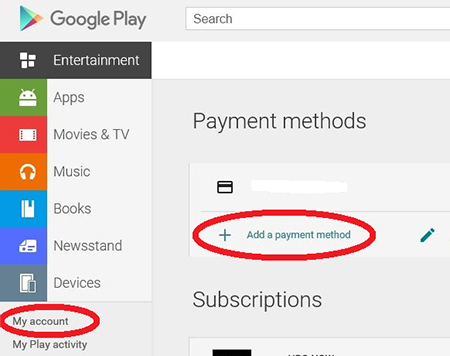 Google play add payment method
