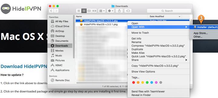 HideIPVPN software for Mac OS X