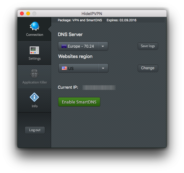HideIPVPN software for Mac OS X