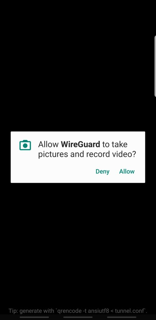 wireguard android allow qr
