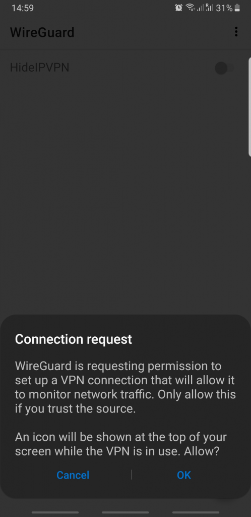 wireguard android connect