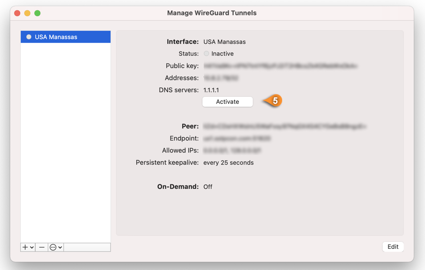 wireguard macos activate connection